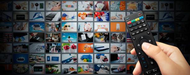 multimedia video streaming web banner background - telecomando background foto e immagini stock