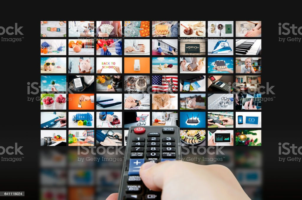 Multimedia video wall television broadcast stock photo