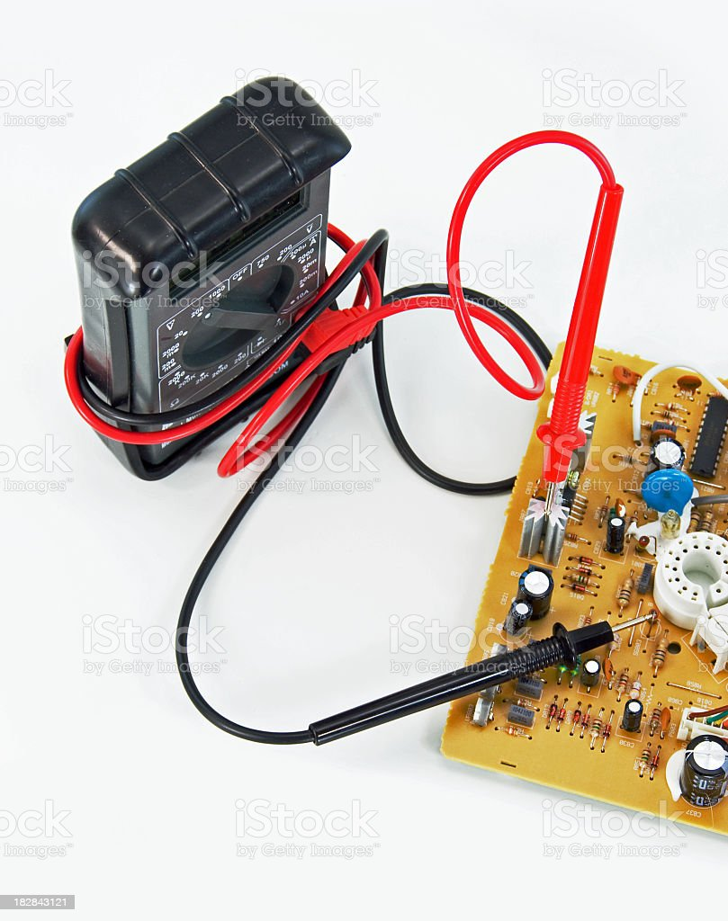 Multimeter and  Circuit Board royalty-free stock photo