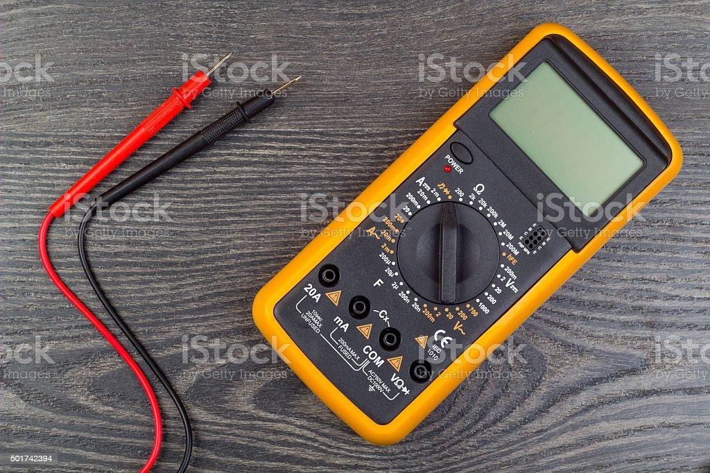 Multimeter on office stock photo