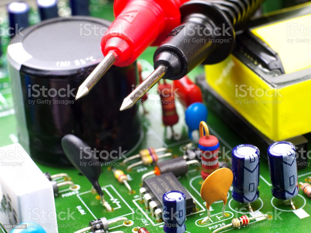 Multimeter Test Probes On Printed Circuit Board Closeup Shallow Pics Photos Desktop Wallpapers Pictures Depth Of Field Royalty