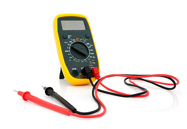 A multimeter with red and black cables stock photo