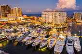 Multimillion dollar yachts in Fort Lauderdale twilight aerial photo boat show