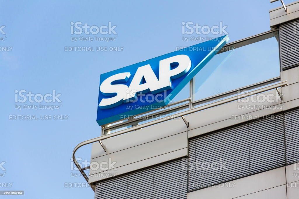 SAP-multinationale Software Corporation Logo auf Tschechische Zentrale Gebäude – Foto