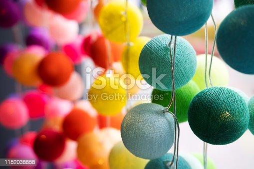 MultiСolor light ball made from folding cotton yarn