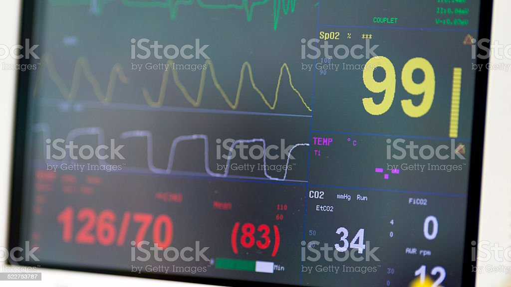 Multiparameter patient monitor stock photo