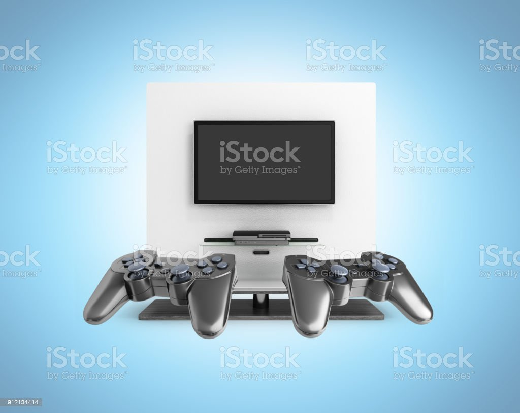 Multiplayer game concept on the console Illustration of joysticks on TV background on blue gradient 3d render stock photo