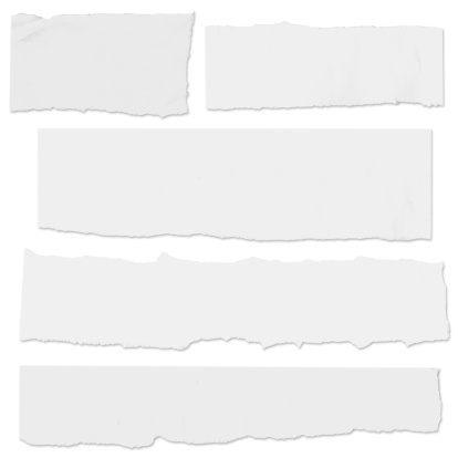 Very large, blank newspaper tears with drop shadows isolated on white. Full size includes clipping paths for placement on any color background.