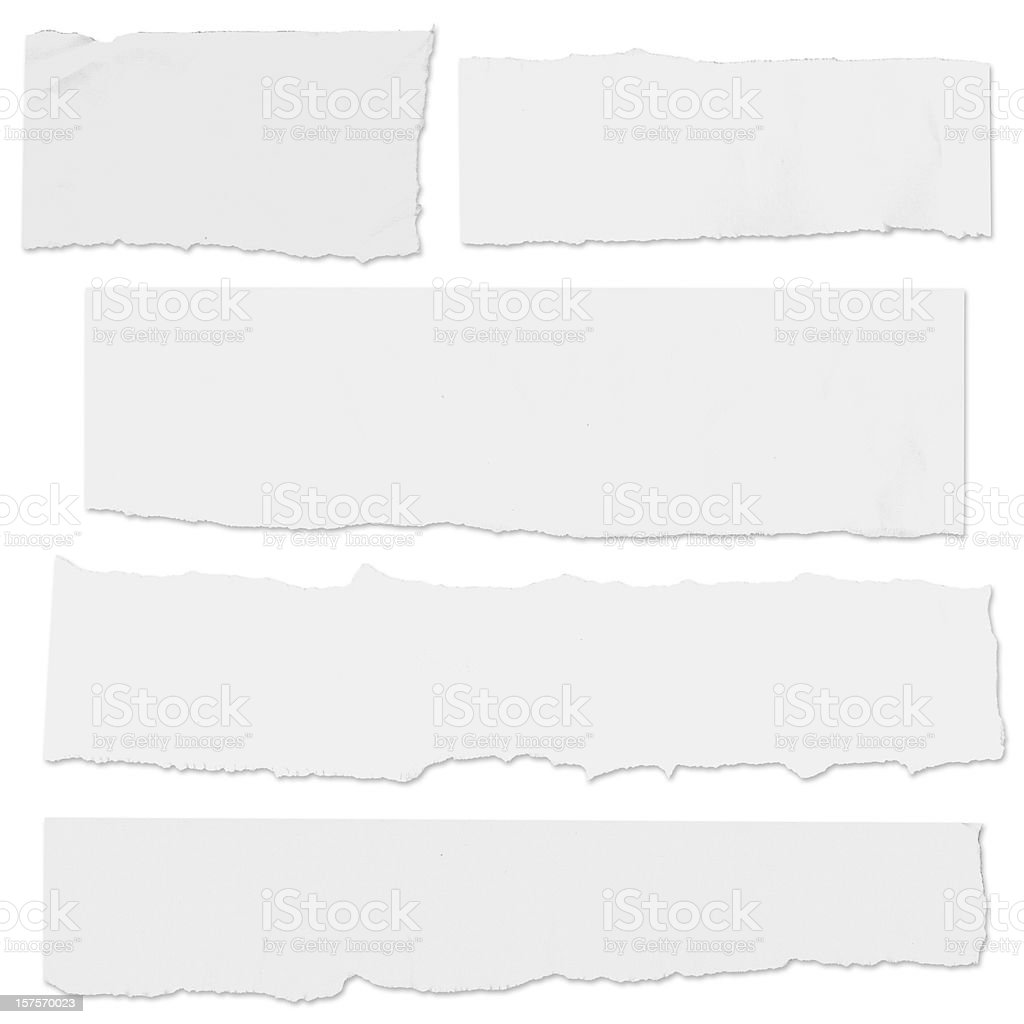 Multiple blank paper tears on white w/drop shadow stock photo