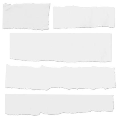 Wiele Puste Papieru Łez Na Białym Bez Cienia - zdjęcia stockowe i więcej obrazów Białe tło