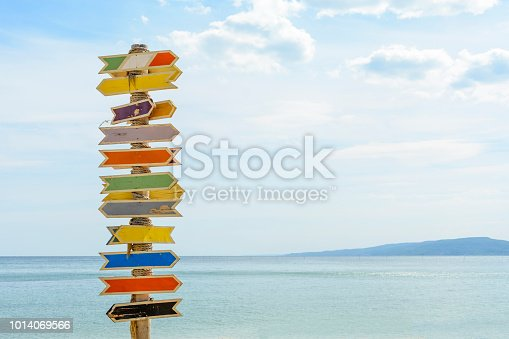 istock Multiple blank signs on a wooden pole in the beach.place for text. 1014069566