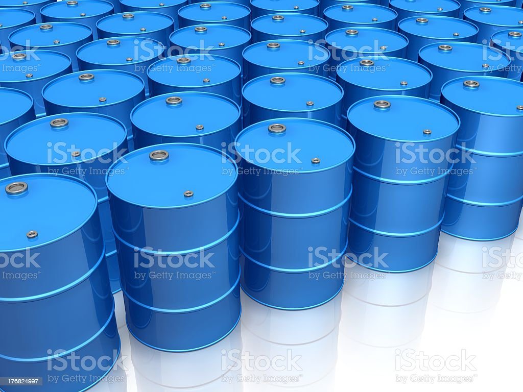 Multiple blue oil drums on white royalty-free stock photo
