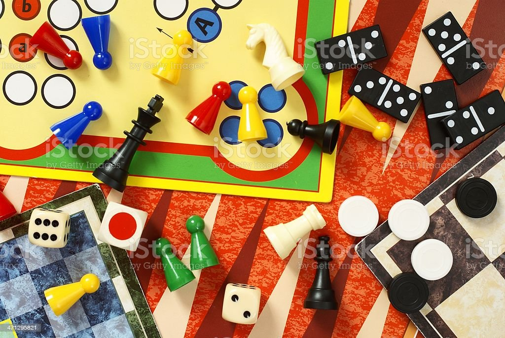Multiple board games and pieces stock photo
