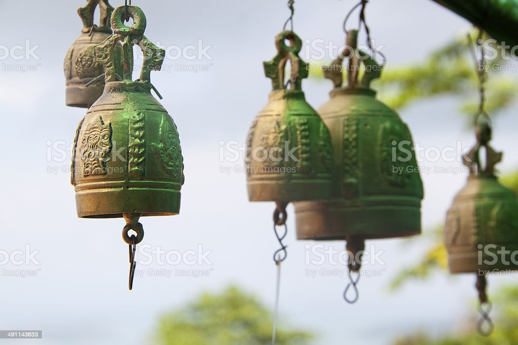 Multiple bronze bells royalty-free stock photo