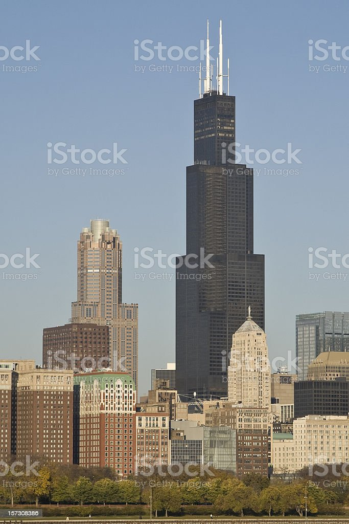 Multiple buildings with Sears tower in Chicago stock photo