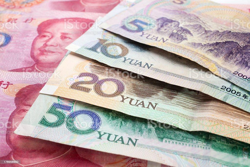 Multiple Chinese Yuan Renminbi notes stock photo