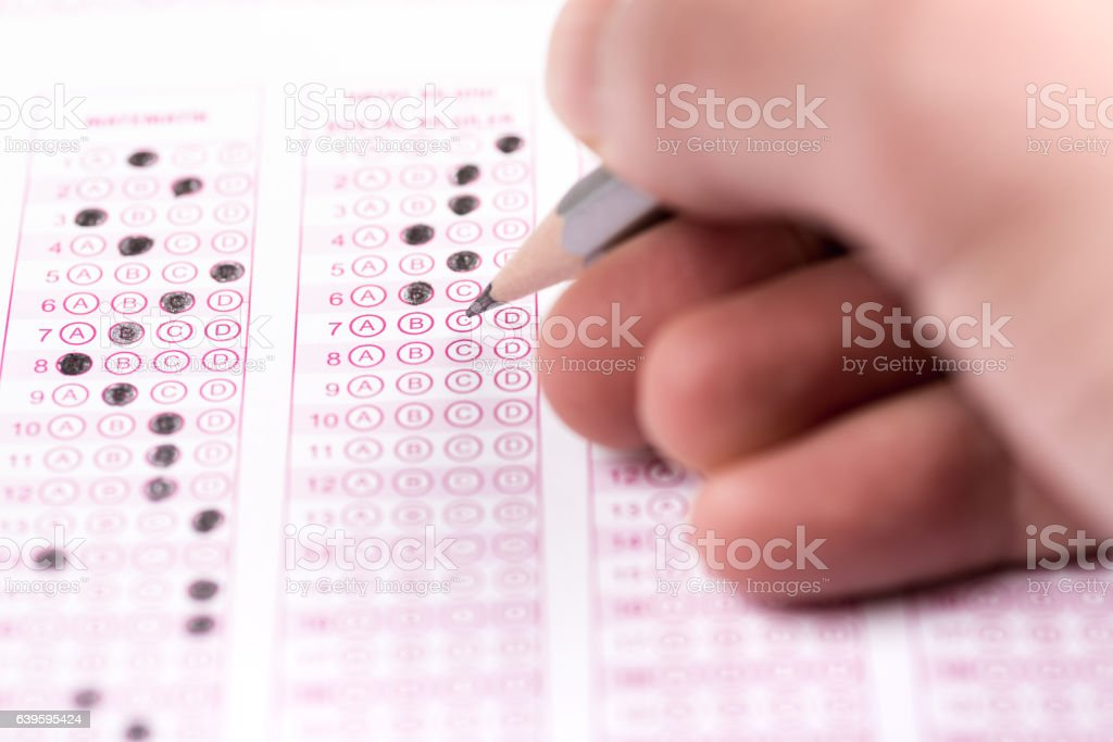 Multiple choice test stock photo
