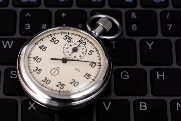 Multiple choice test with stopwatch and keyboard concept stock photo stock photo