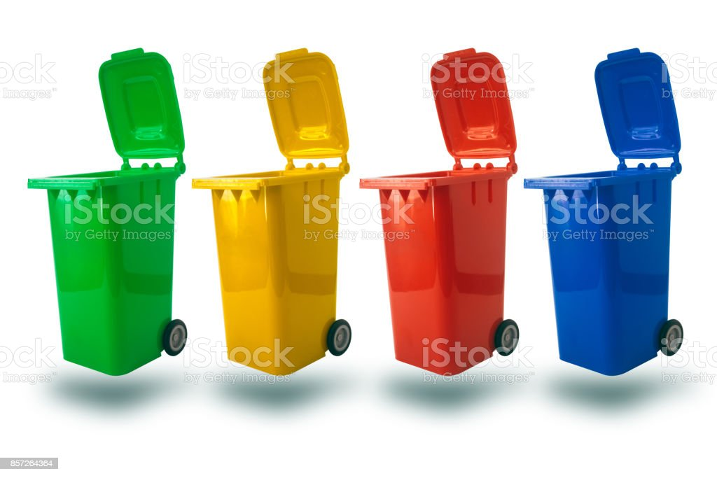multiple color for separate type of waste open cap plastic trash bin or recycle bin garbage bin stock photo