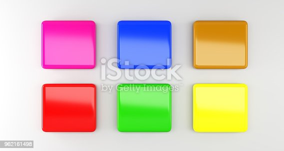 istock Multiple Colored Empty Rectangle Badges On Surface With Soft Shadow. 3D Rendering 962161498