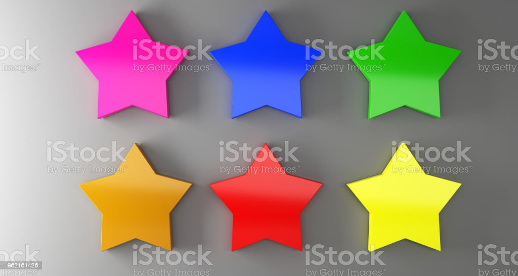 Multiple Colored Empty  Star Shaped Badges On Surface With Soft Shadow. 3D Rendering stock photo