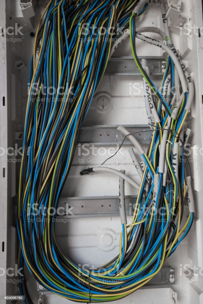 Multiple colors cable wires stock photo