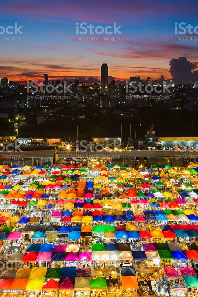 Multiple colour aerial view weekend market stock photo