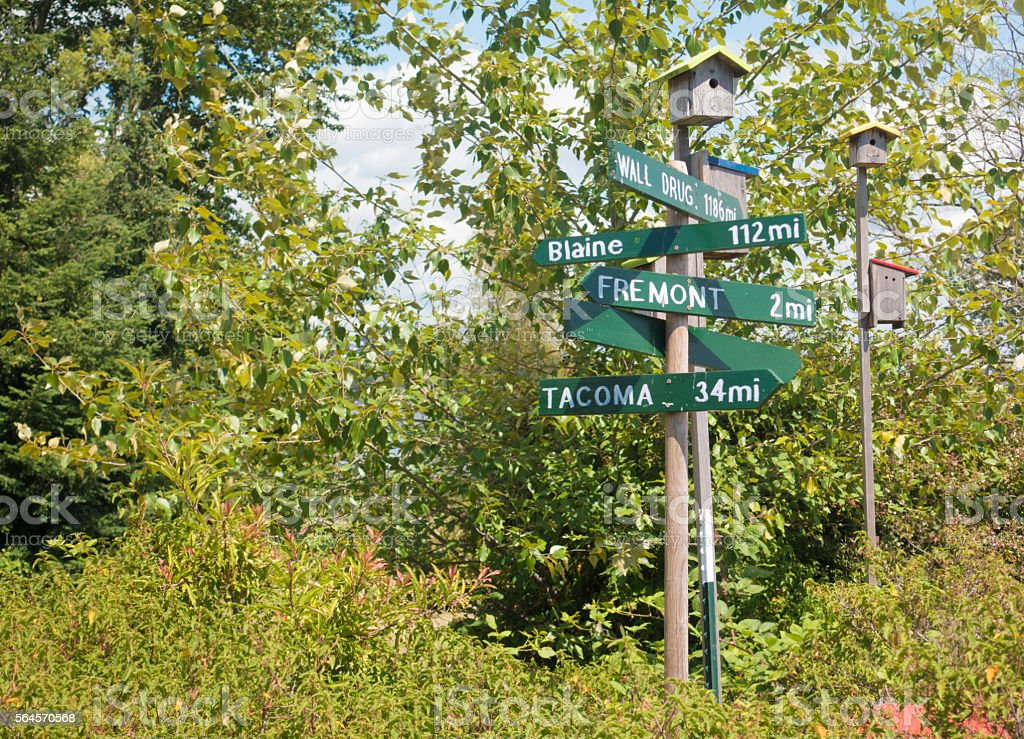 Multiple Directions Sign Post Seattle Arboretum Trail Pointing to Destinations stock photo