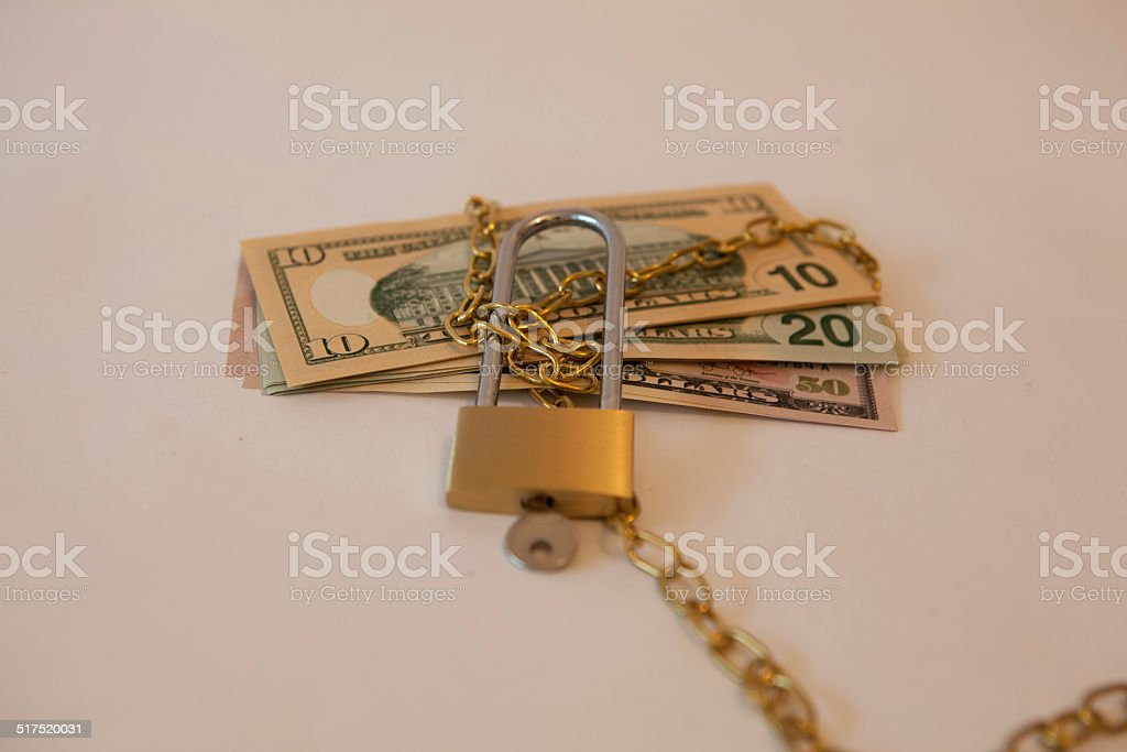 multiple dollars tied up stock photo
