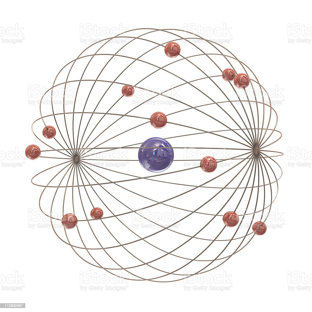 Multiple electron paths around the nucleus royalty-free stock photo