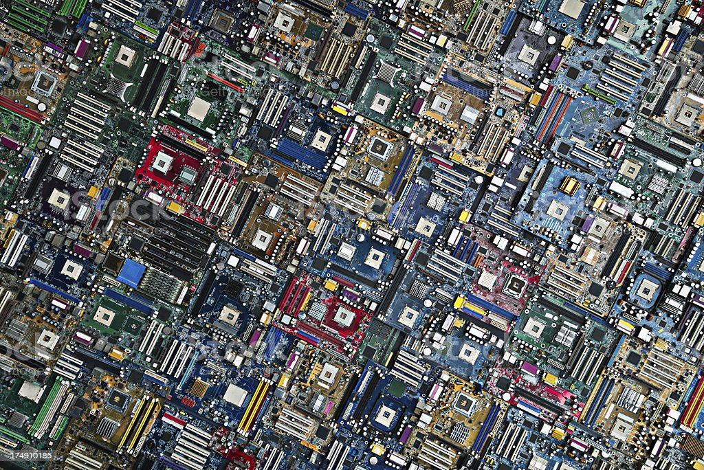 Multiple Electronic PC Motherboards look like a Silicon City royalty-free stock photo