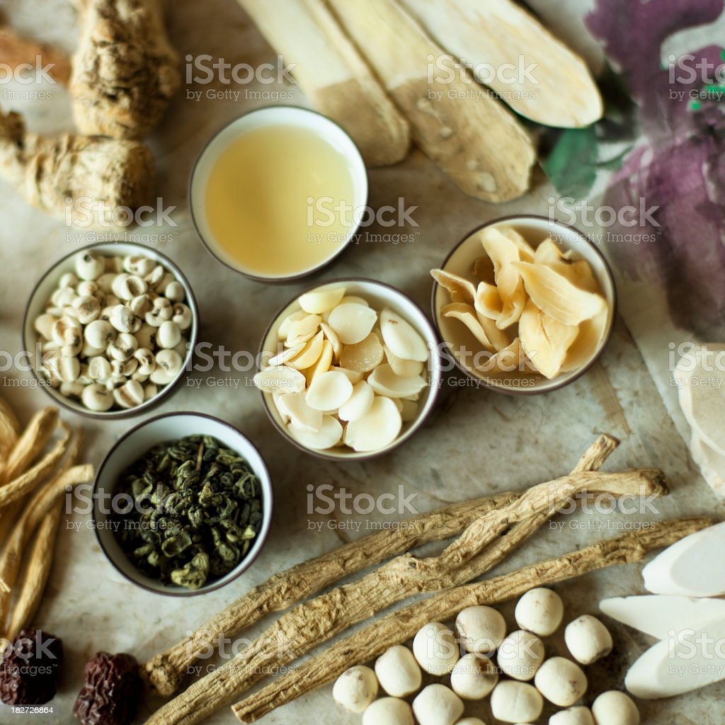 Multiple elements of traditional Chinese medicine stock photo