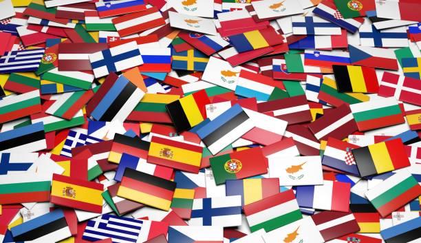 mehrere europäische flaggen - freistaat stock-fotos und bilder