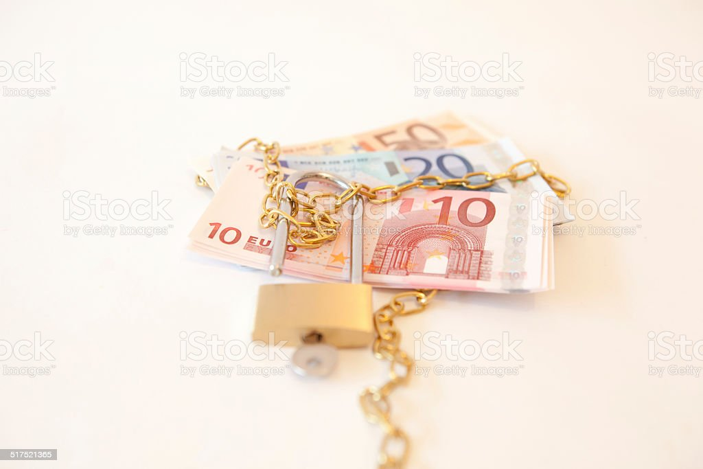 multiple euros tied up stock photo