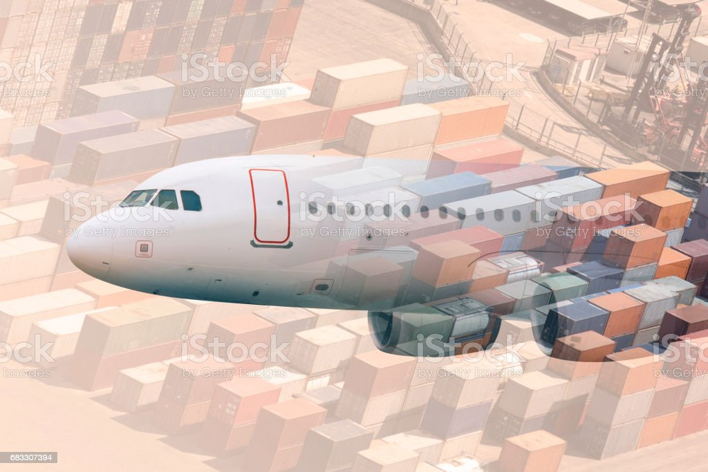 multiple exposure airplane and cargos foto stock royalty-free