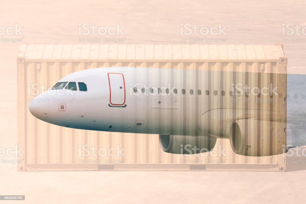 multiple exposure airplane and cargos royalty-free stock photo