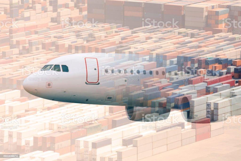 multiple exposure airplane and cargos zbiór zdjęć royalty-free