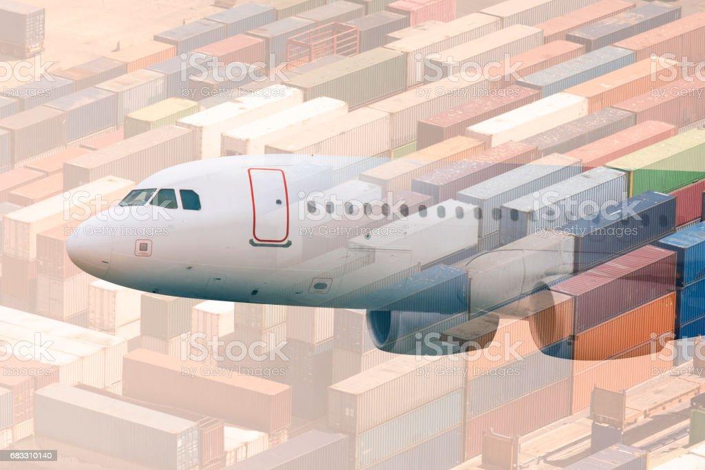 multiple exposure airplane and cargos royalty free stockfoto