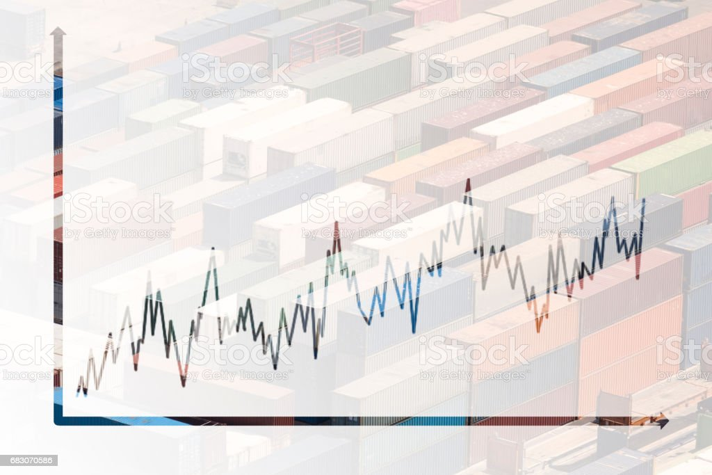 multiple exposure business chart foto de stock royalty-free