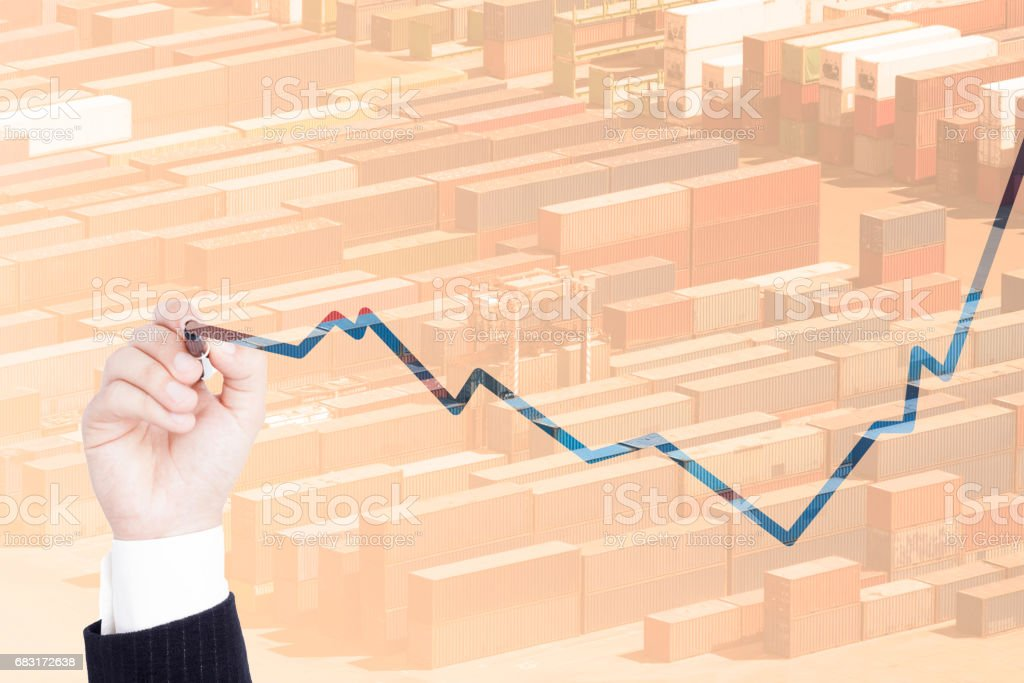 multiple exposure business chart Lizenzfreies stock-foto