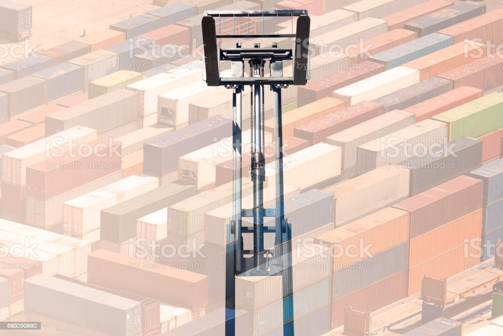 multiple exposure forklift 免版稅 stock photo