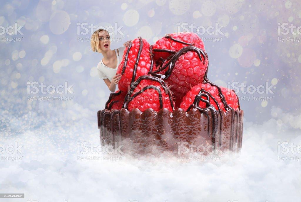 Multiple exposure image of a happy woman enjoying gourmet dessert heaven