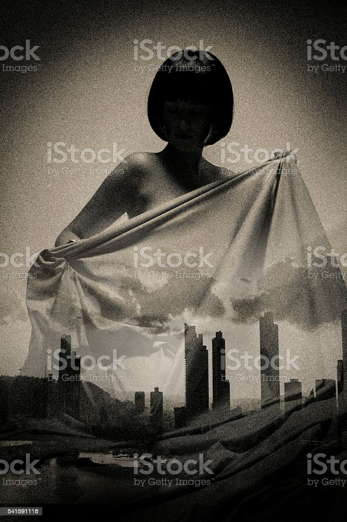Multiple Exposure Image of Mother Nature and Pollution stock photo