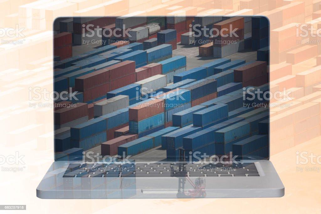 multiple exposure laptop 免版稅 stock photo