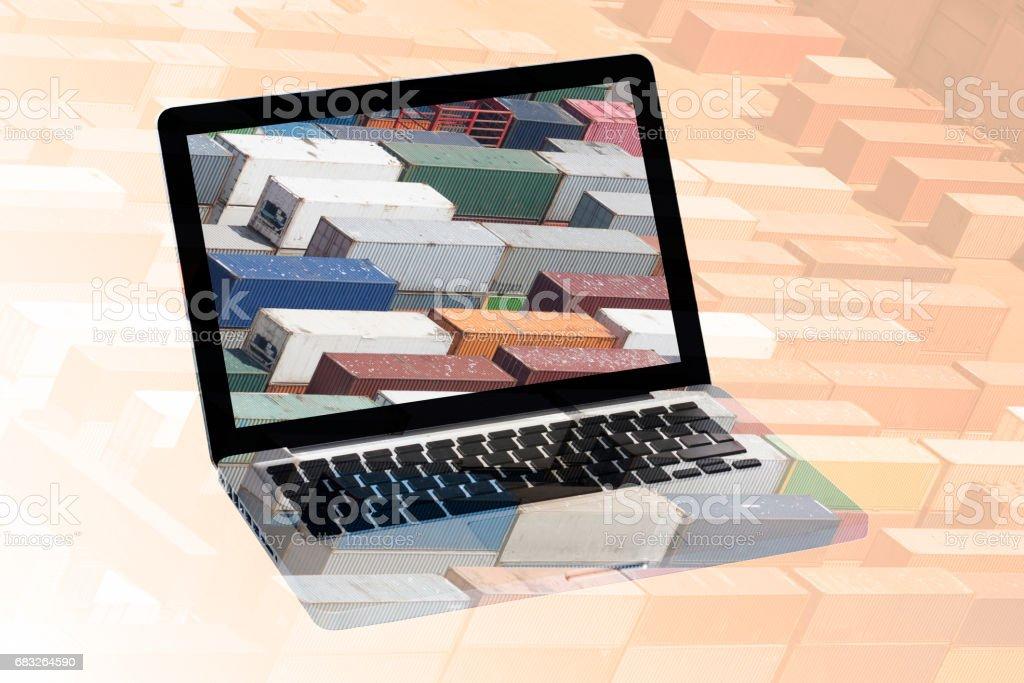 multiple exposure laptop royalty-free 스톡 사진