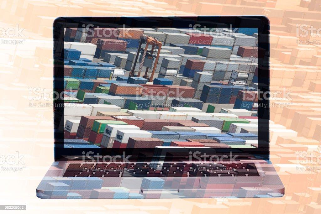 multiple exposure laptop royalty-free stock photo