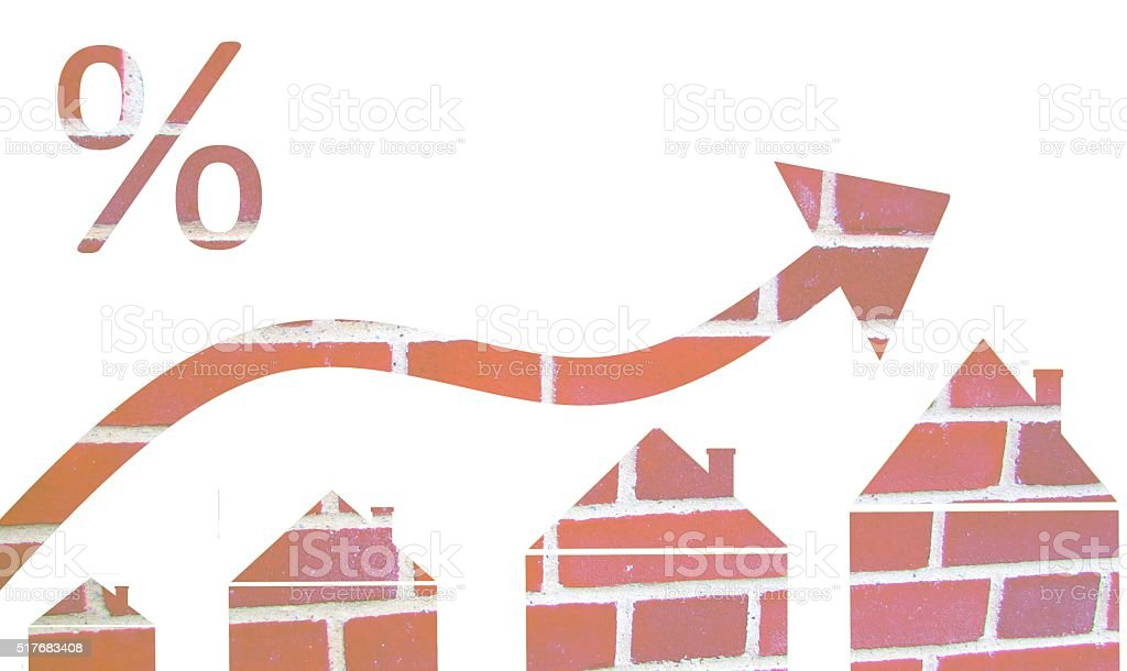 multiple exposure mortgage interest rates concept stock photo