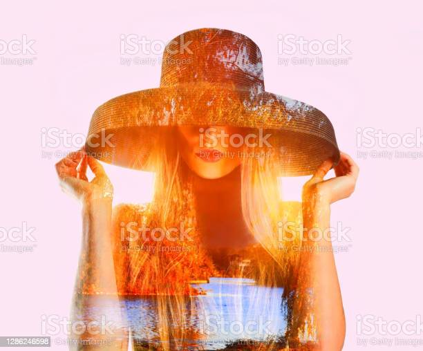 Photo of Multiple exposure of a fashionable young woman and fall colors