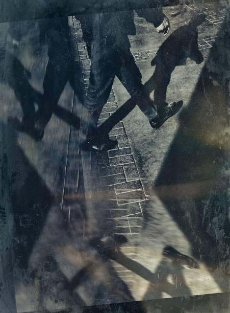 Multiple exposure of a man walking on the street
