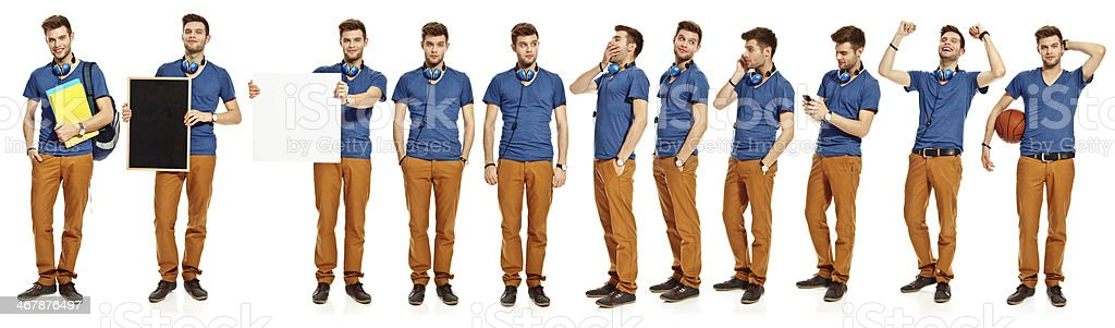 Multiple exposure of a young man Collection of one young man standing in different poses over white background. 20-29 Years Stock Photo